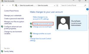 Thay đổi tên tài khoản trong Windows 10