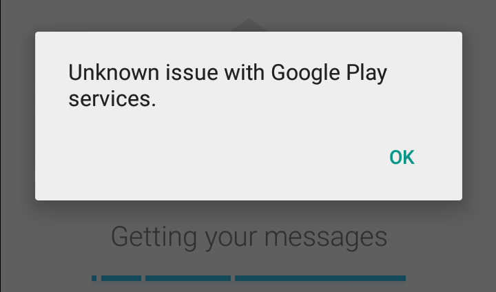 "Thông báo lỗi ""Unknown issue with Google Play Services"" trên CH Play"