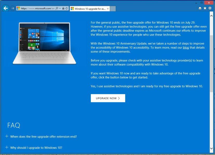 Nâng cấp lên Windows 10 miễn phí bằng Assistive Technologies