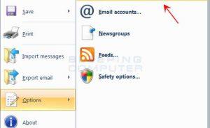 Trình đơn tùy chọn Windows Live Mail