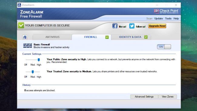 su dung phan mem tuong lua ZoneAlarm Free Firewall