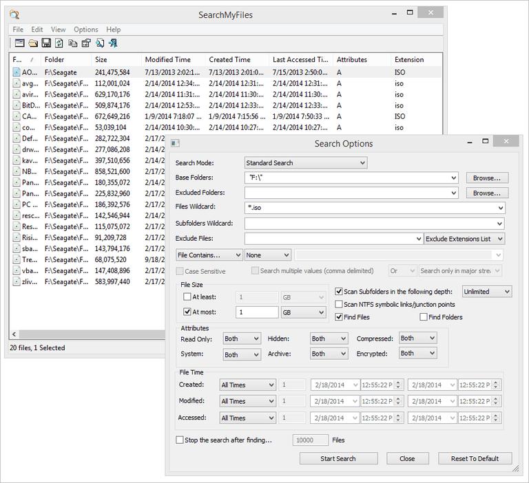 Su  dung SearchMyFiles tim kiem file trong windows