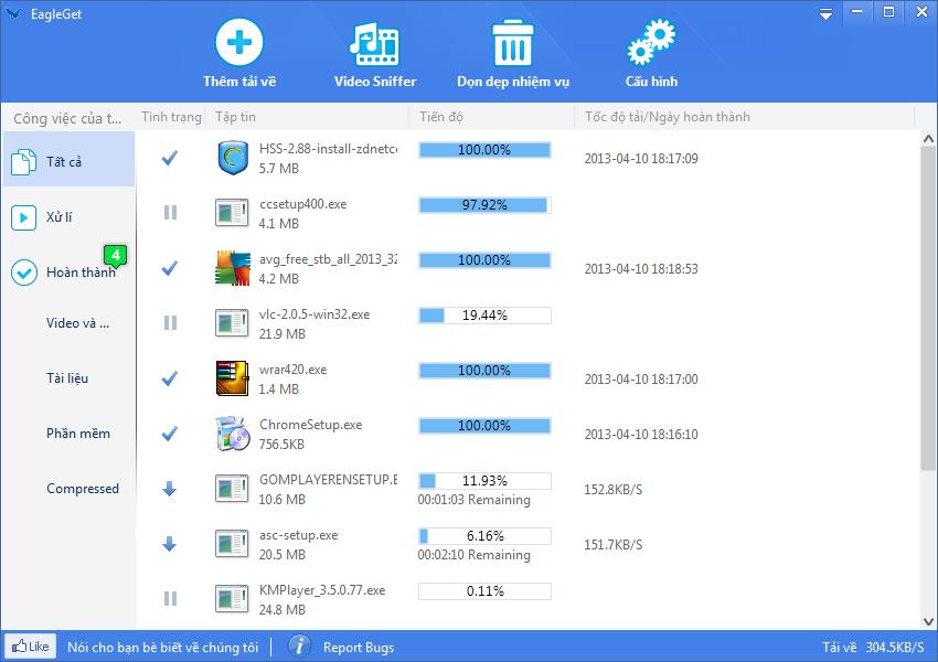 sử dụng eagleget download manager