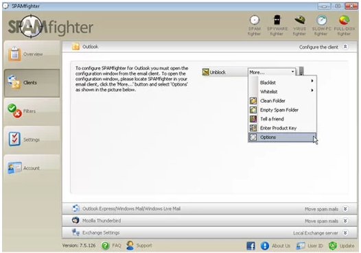 cau hinh email trong spamfighter pro 7 6