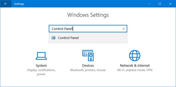 control panel settings