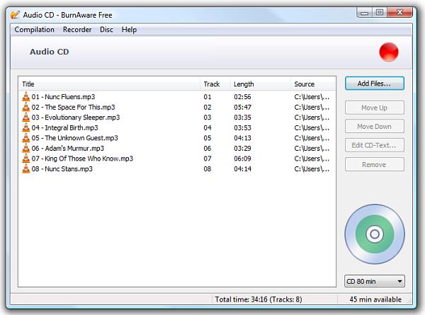 Sử dụng BurnAware Free ghi đĩa CD/DVD