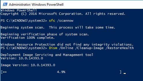 Chạy DISM với PowerShell trong Windows 10 - khắc phục các tệp bị hỏng
