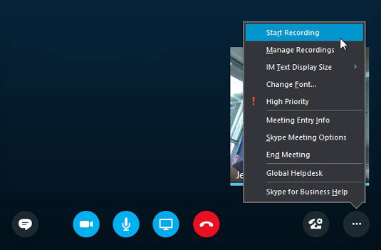 Ghi lại cuộc họp Skype for Business
