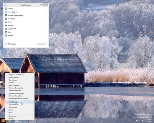 Mở hộp thoại Task Manager trên Windows 8.1