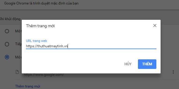 Nhap url trang khoi dong vao google chrome