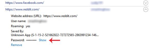 Hiển thị mật khẩu đã lưu trong Microsoft Edge bằng Credential Manager