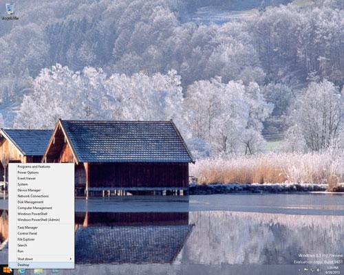 Menu xuất hiện khi bạn nhấp chuột phải vào nút Start trên Windows 8.1