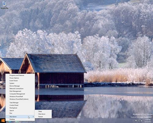 Bạn có thể tắt bằng cách nhấp chuột phải vào nút Start trên máy tính Windows 8.1.
