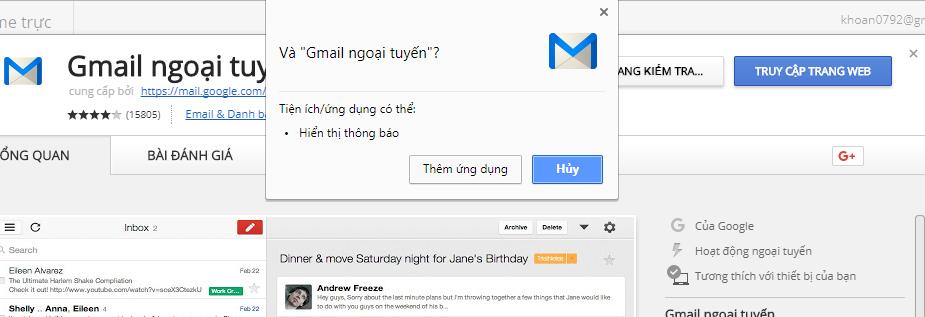 them tien ich Gmail Offline cho Google Chrome