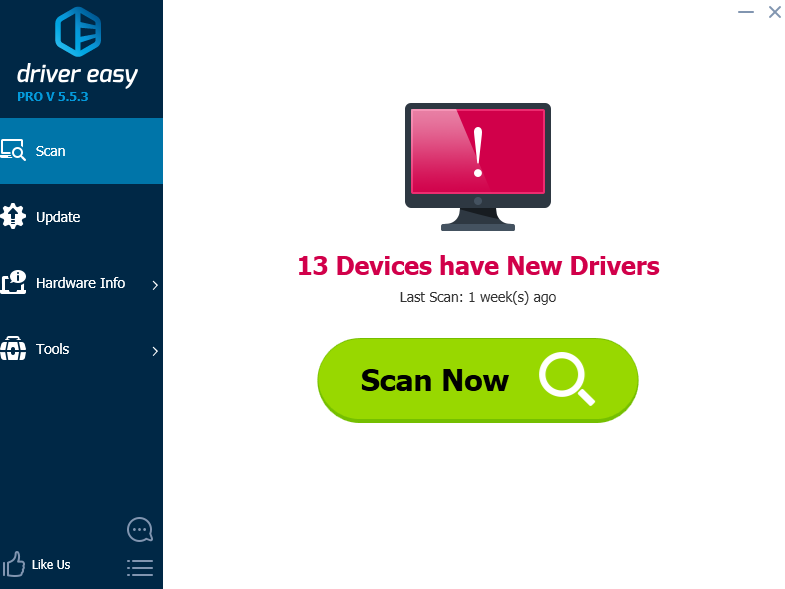 nhan Scan now trong Driver-Easy