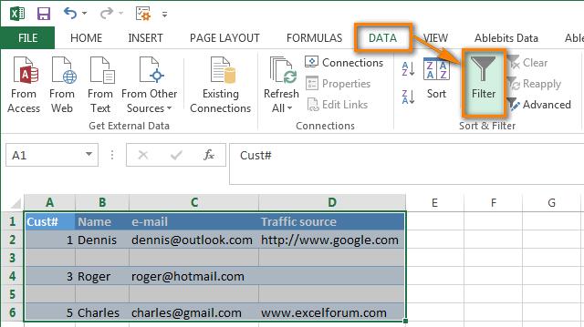Thêm Bộ lọc Tự động vào bảng Excel
