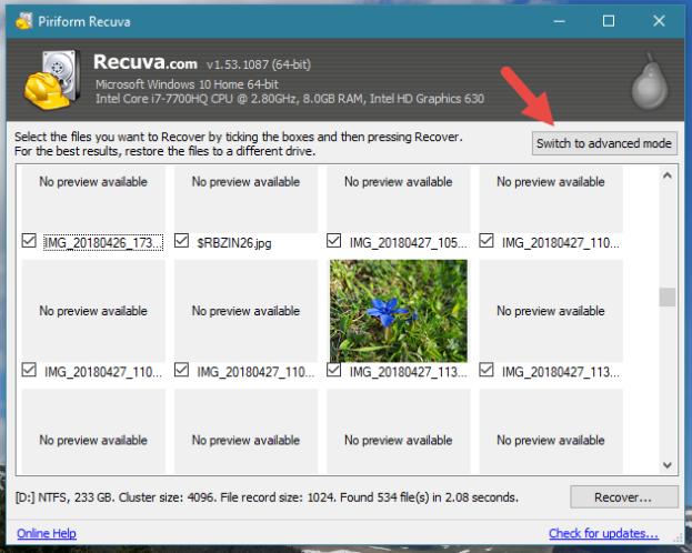 sử dụng Recuva khôi phục dữ liệu