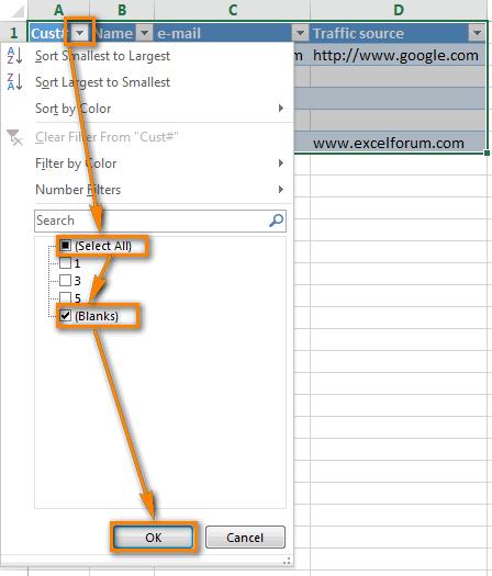 Excel Tự động lọc: chỉ hiển thị các hàng rỗng