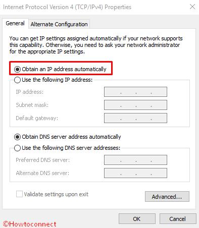 Obtain an IP address automatically