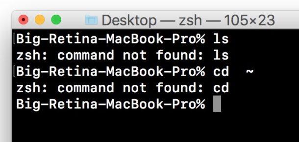 lệnh không tìm thấy thiết bị đầu cuối lỗi Mac