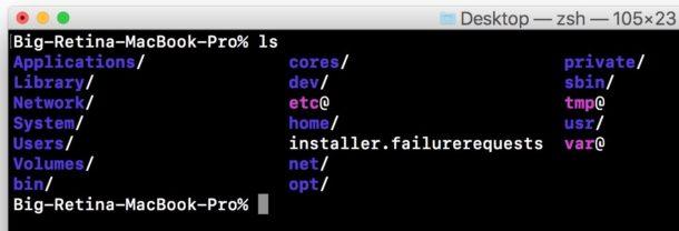 Lệnh làm việc trong thiết bị đầu cuối Mac hoạt động bình thường