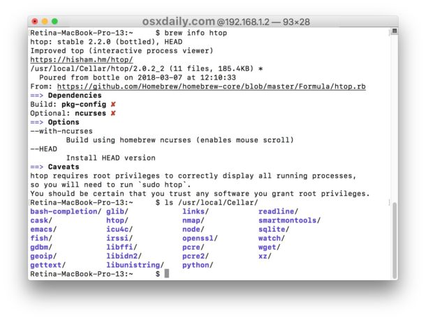 Làm thế nào để có được thông tin gói Homebrew và đường dẫn cài đặt trên Mac