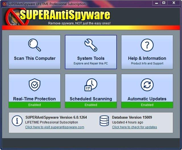 Giao diện SUPERAntiSpyware 6.0