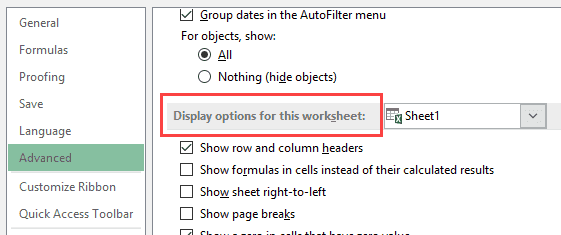 Display options for this worksheet