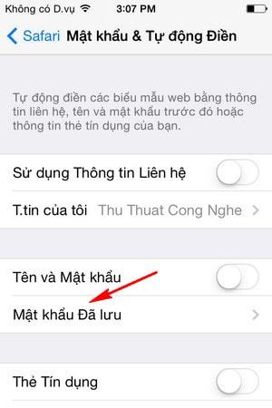 Mật khẩu đã lưu trên iPhone