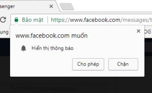 Thông báo trang web Google Chrome
