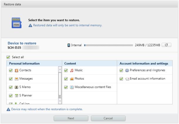 Kies_restore_select_data