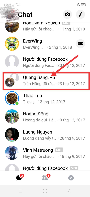 Chon nhm chat facebook Messenger