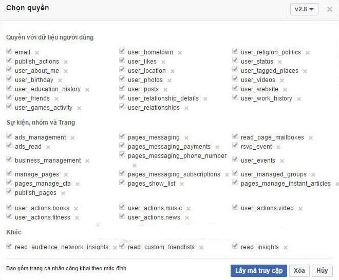 lấy mã token cho facebook để tăng like