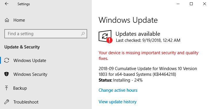 Khắc phục lỗi disk 100% bằng việc update windows