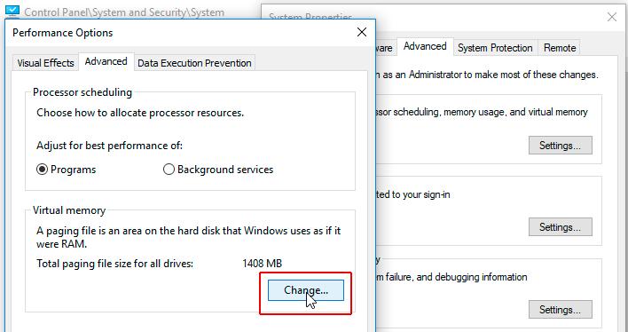 Lỗi disk 100% - Change page file size