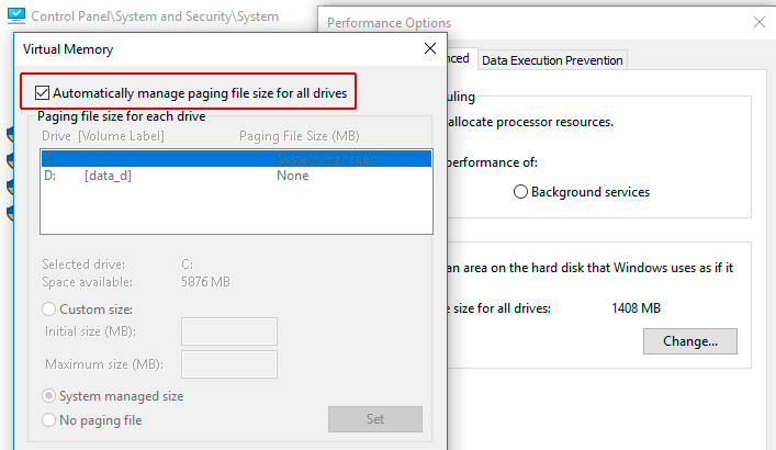Lỗi disk 100% - disable automatic system managed page file