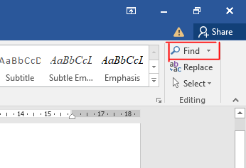 Search for the word you want to replace in Word